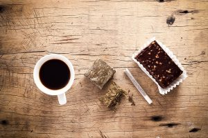 cannabis edibles and flower with coffee