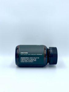 bottle of microdose mushroom capsules